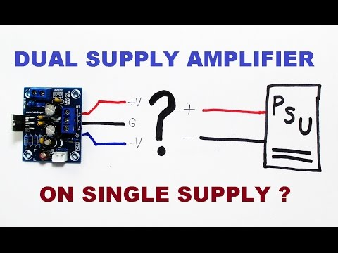 Dual supply audio amplifier kit powered from single power supply