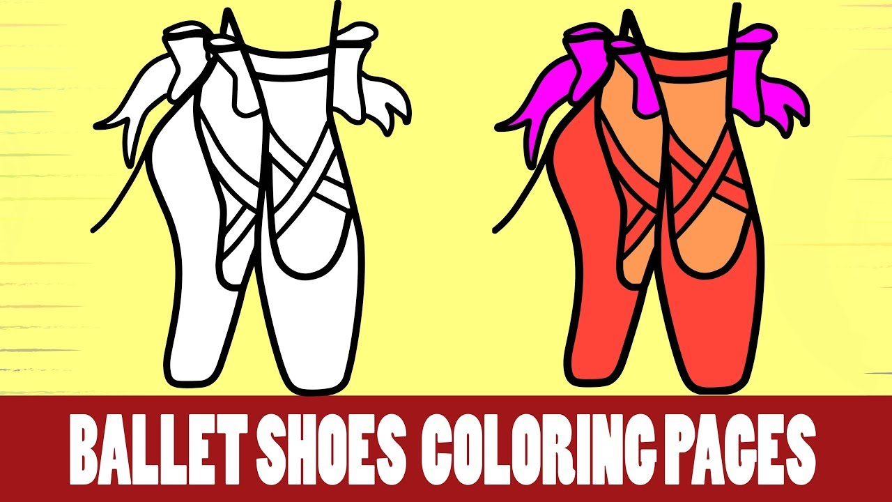 Ballet Shoes Coloring Pages । Ballet Shoes Drawing । Kids Coloring ...