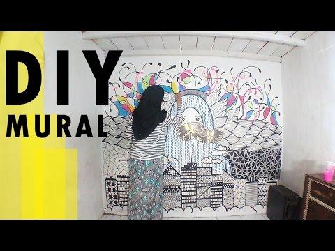 DIY - Mural Tembok / Dinding Kamar (DIY, Tutorial, Menggambar di dinding)