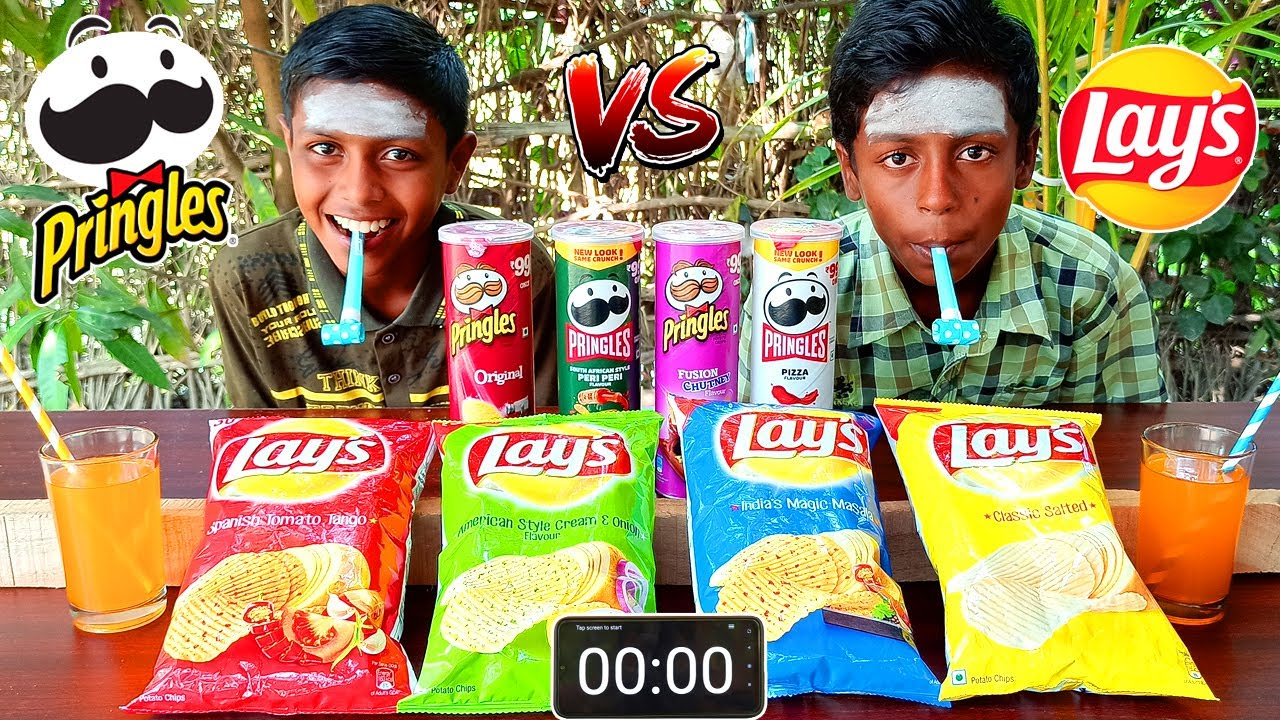 PRINGLES vs LAYS CHALLENGE | CHEAP vs EXPENSIVE FOOD CHALLENGE | VILLAGE EATING CHALLENGE