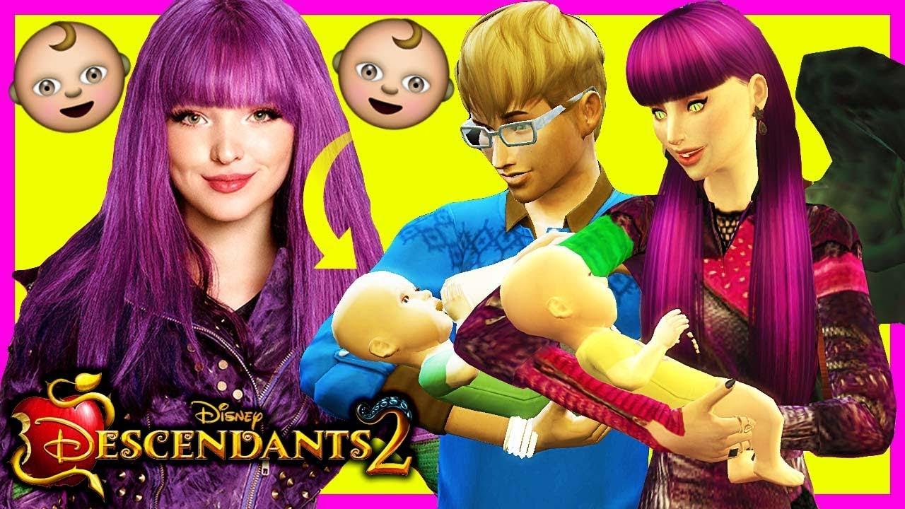 DESCENDANTS 2 Sims 4 👶🚼 MAL GIVES BIRTH TO TWINS!! 👶🚼 Disney's  Descendants