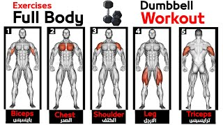 Full Body HOME Dumbbell WORKOUT squats chest triceps biceps back shoulder