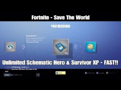Fortnite - Save The World - Schematic, Hero & Survivor XP Exploit - STILL  WORKING