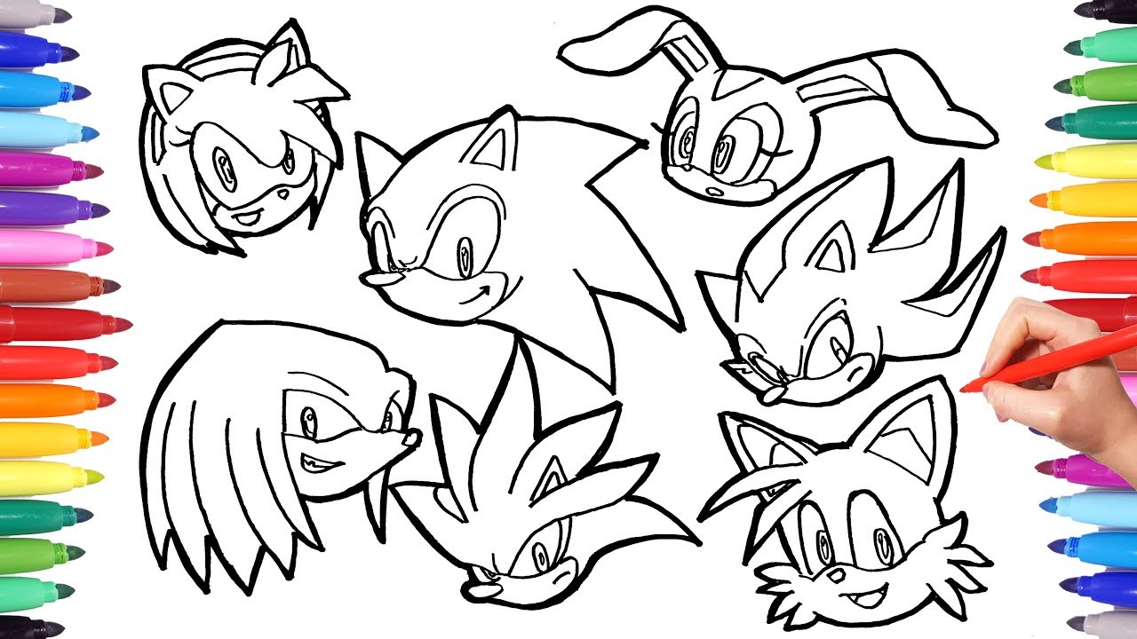 Sonic the Hedgehog Coloring Pages  Watch How to Draw All Sonic Characters  Faces  Cartoon Coloring