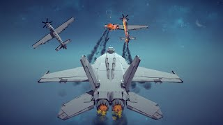 Dogfight! Jet Fighter vs Two Prop Fighters + Other Awesome Combat Destruction | Besiege