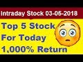 BEST INTRADAY CALL 03-05-2018 || Today Intrday Stock Tips