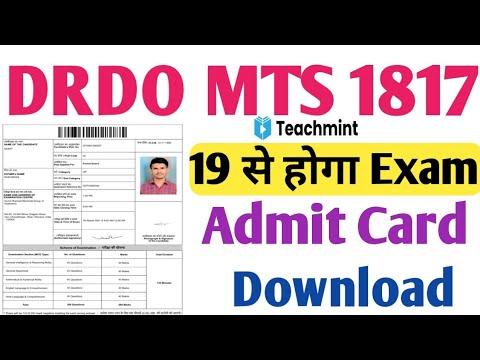 Download DRDO MTS Exam Date 2021 | drdo mts exam Kab Hoga| |drdo mts Admit Card 2021|drdo mts 1817| Teachmint