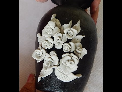 pot painting how to make rose embossing - YouTube - photo#32