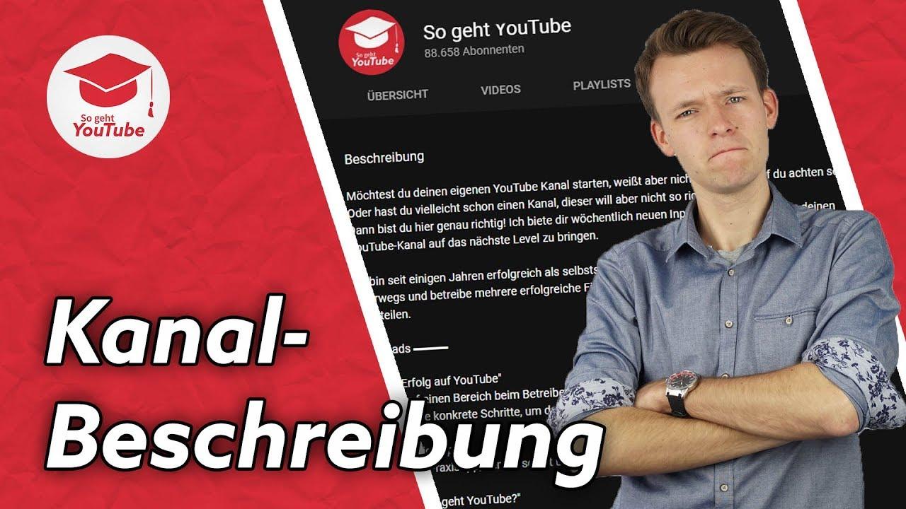 Hilft Die Kanal Beschreibung Beim Ranken Youtube