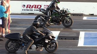 Nitro Hayabusa vs H2 Ninja and GSXR - motorbikes drag racing MP3
