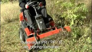 Husqvarna PR / PF / R Frontsichelmäher m. Hochgrasmähwerk, Schneeschild, Kehrmaschine,