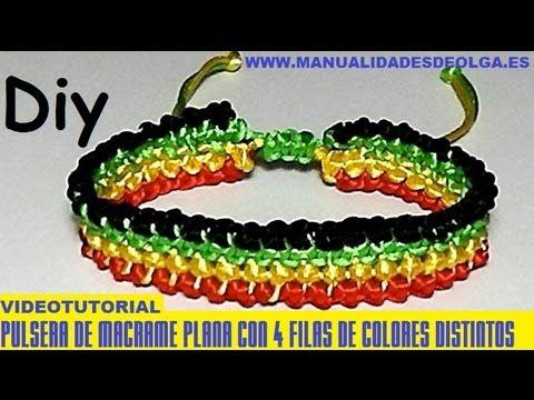 b31b74a65dcb COMO HACER UNA PULSERA DE CUATRO LINEAS PARALELAS DE 4 COLORES DE MACRAME  TUTORIAL DIY