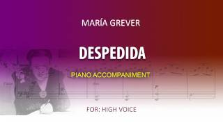 Despedida / Karaoke piano / María Grever / High Voice