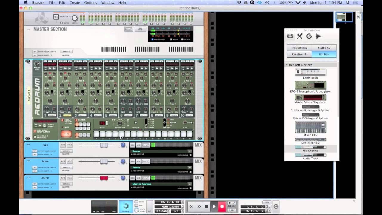Propellerhead reason tutorial (5/5): effects, wiring, redrum, nn.