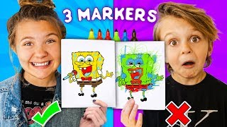 3 MARKER CHALLENGE!! Bro and Sis vs Mom and Dad! | Slyfox Family