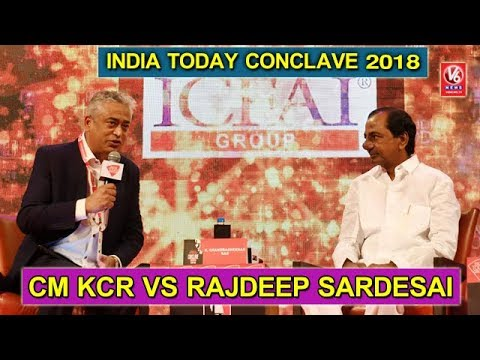 CM KCR Vs Rajdeep Sardesai | Question And Answers At India Today Conclave 2018 | V6 News