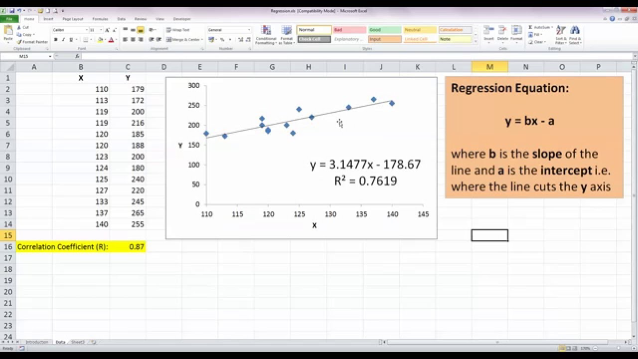 Worksheets Linear Regression Worksheet how to perform simple linear regression in excel 2010 youtube youtube
