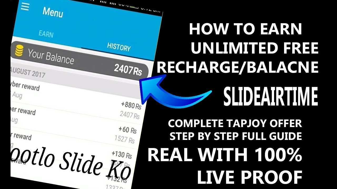 How To Earn Unlimited Recharge/Balance from SliideAirtime (*Complete tapjoy  offers complete guide*)