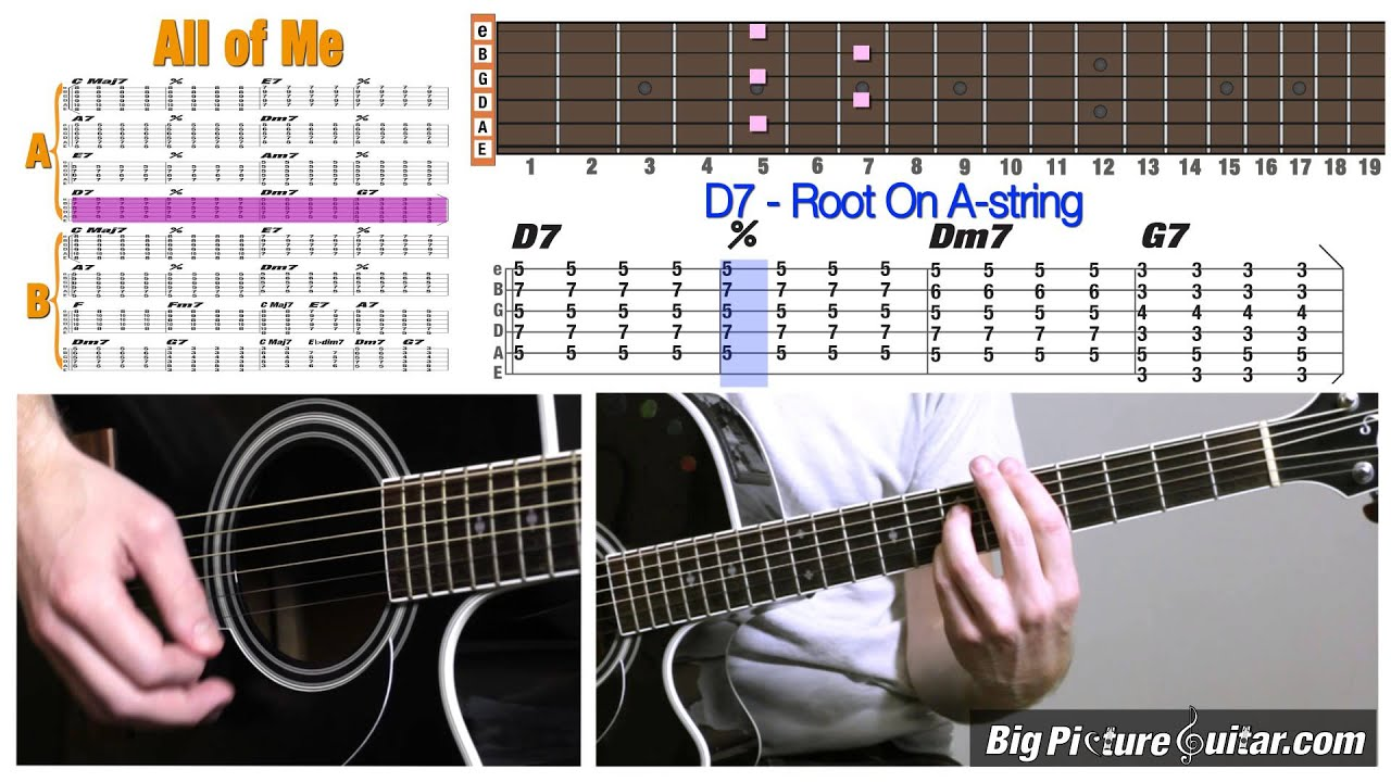 Guitar Lesson All Of Me Jazz Standard W Animation Tab Youtube
