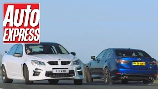 Lexus GS F vs Vauxhall VXR8: mighty V8 saloon track battle