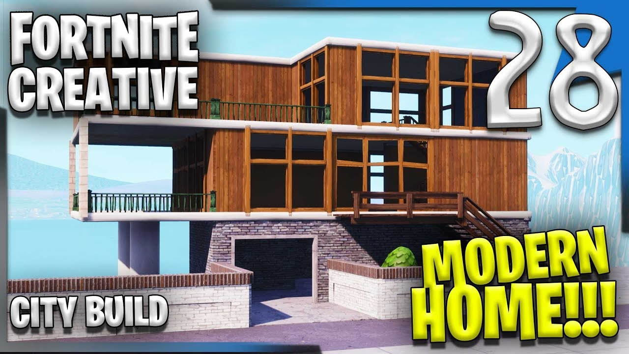 Modern house city build fortnite creative building e28