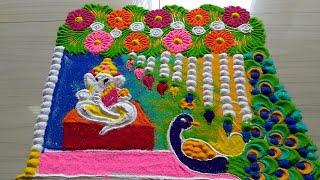 Ganesh chathurthi rangoli design with colours/rangoli2018