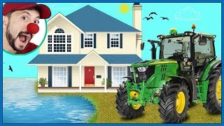 Funny Clown Bob | Construction vehicles Tractor Unboxing House for kids flood | Funny Video for kids
