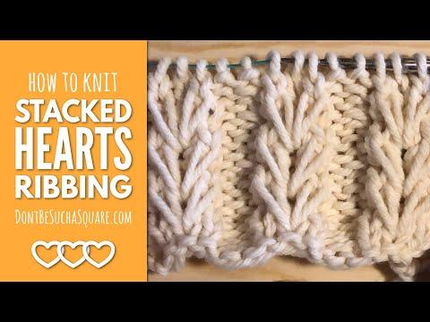 Heart Ribbing Knitting Stitch Pattern