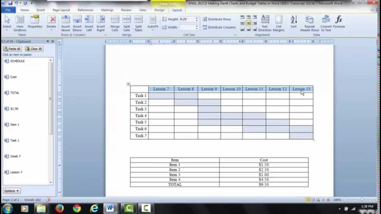Gantt charts and tables in word video 1 insert plot data youtube