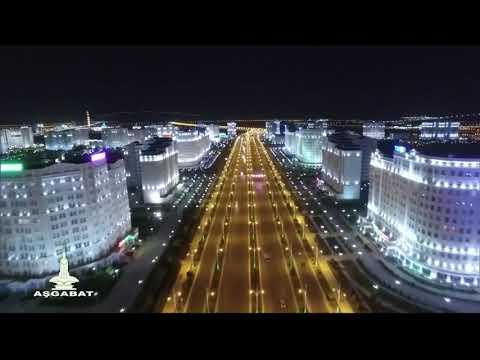 Turkmenistan.Night Ashgabat From A Bird's Eye View / Ночной Ашхабад с высоты птичьего полёта