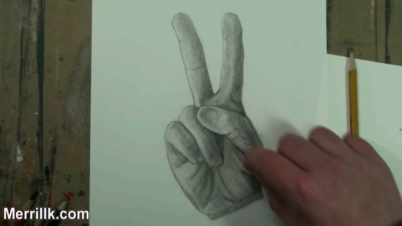 How to draw the hand step by step peace sign pencil drawing youtube