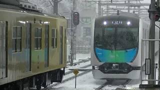 西武鉄道40103F 新宿線上り試運転 雪の所沢