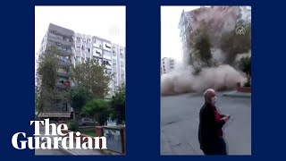 Turkey Earthquake Footage Captures Moment Building Collapses In İzmir