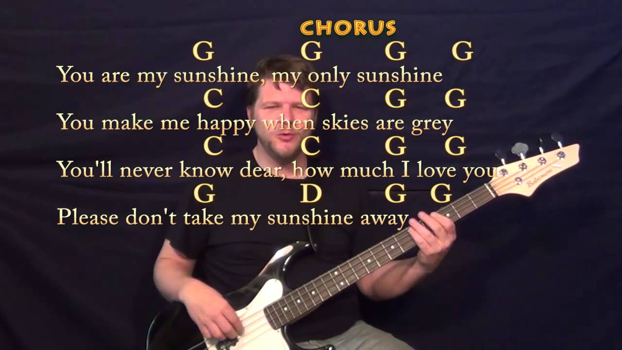 You Are My Sunshine Bass Guitar Cover Lesson With Chords Lyrics