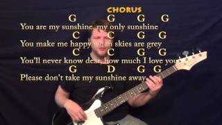 You Are My Sunshine - Bass Guitar Cover Lesson with Chords, Lyrics