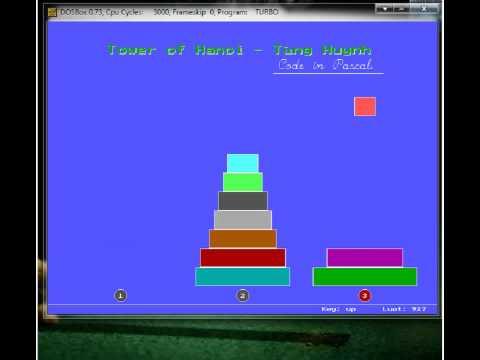 Tháp Hà nội (chuyển 10 đĩa bằng tay) - Tùng Huynh - code Pascal