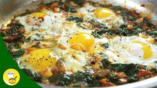 Spinat mit Ei - ein schnelles gesundes Gericht - Eiergericht - canans-rezepte.com