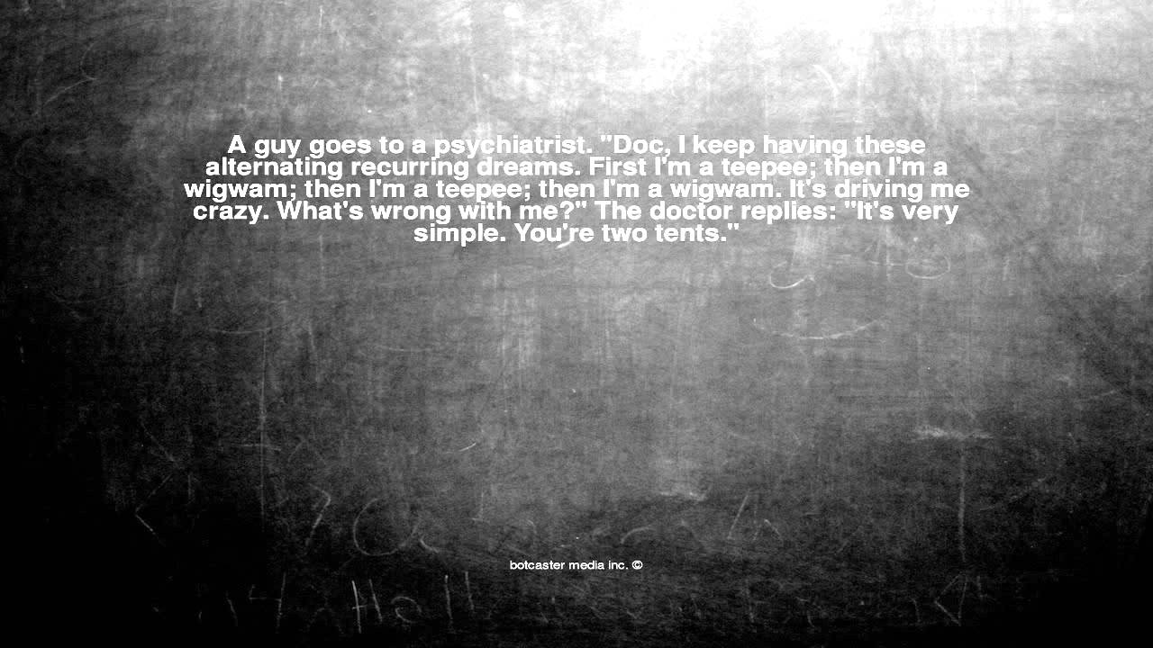 Ok here is the joke. A guy goes to a psychiatrist.  Doc I ke. & Ok here is the joke. A guy goes to a psychiatrist.
