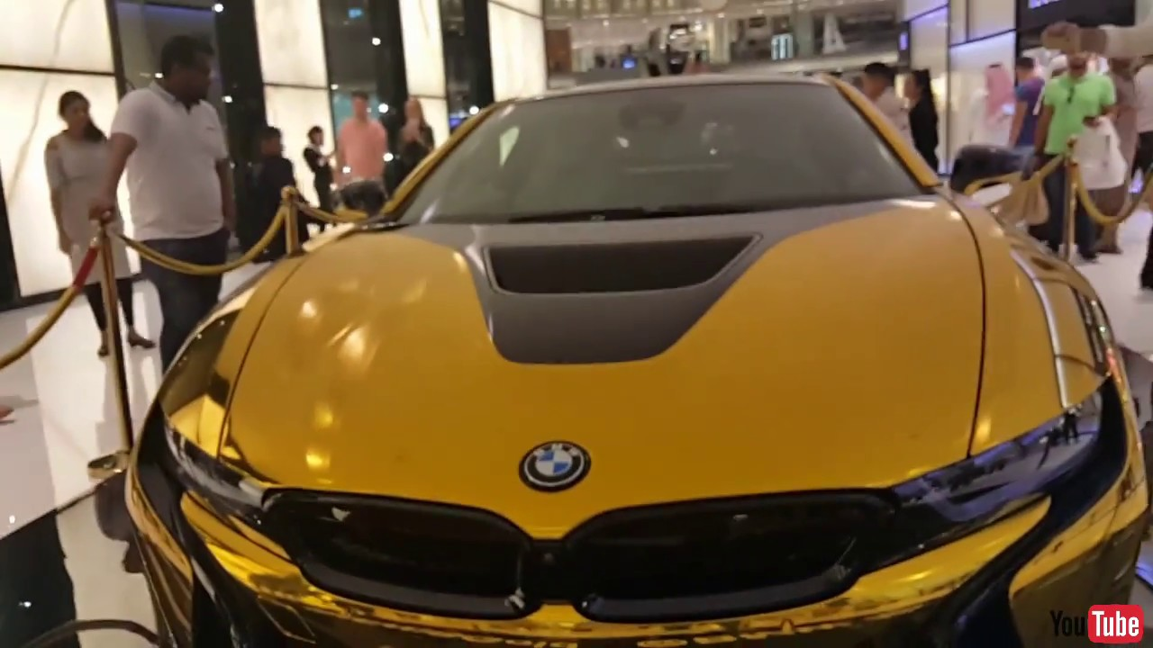 Bmw I8 Gold In Dubai Mall Youtube