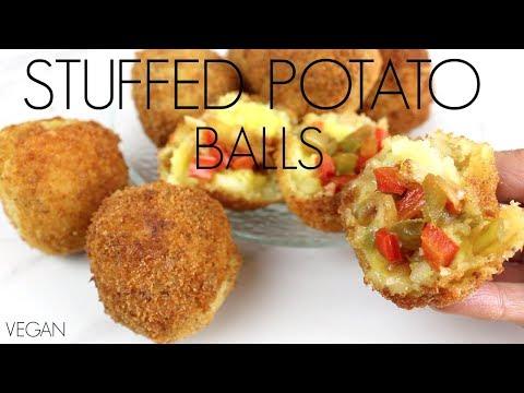 Papas Rellenas  | Stuffed Potato Balls | Vegan