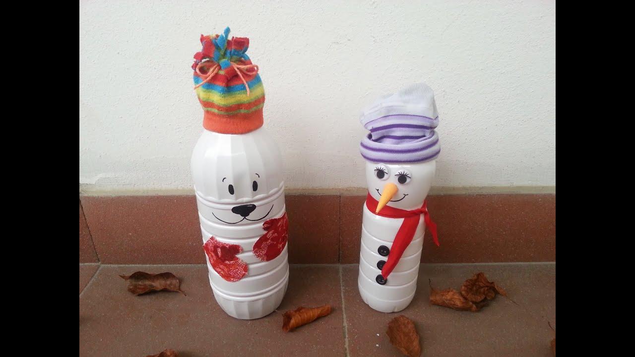 Ecco tante decorazioni natalizie realizzate con tappi e. Tutorial Pupazzi Di Neve Natalizi Riciclando Bottiglie Del Latte Youtube