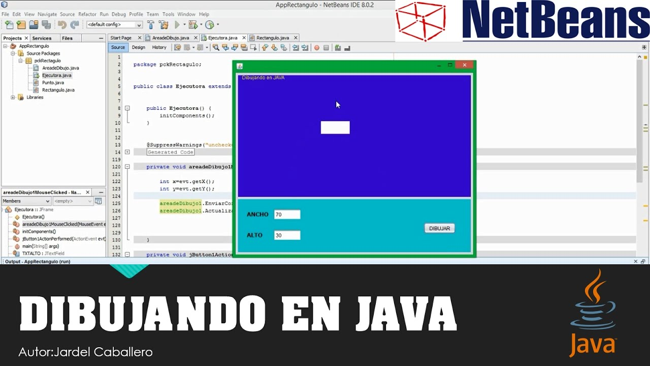 DIBUJANDO EN JAVA  Netbeans Rectngulo  YouTube