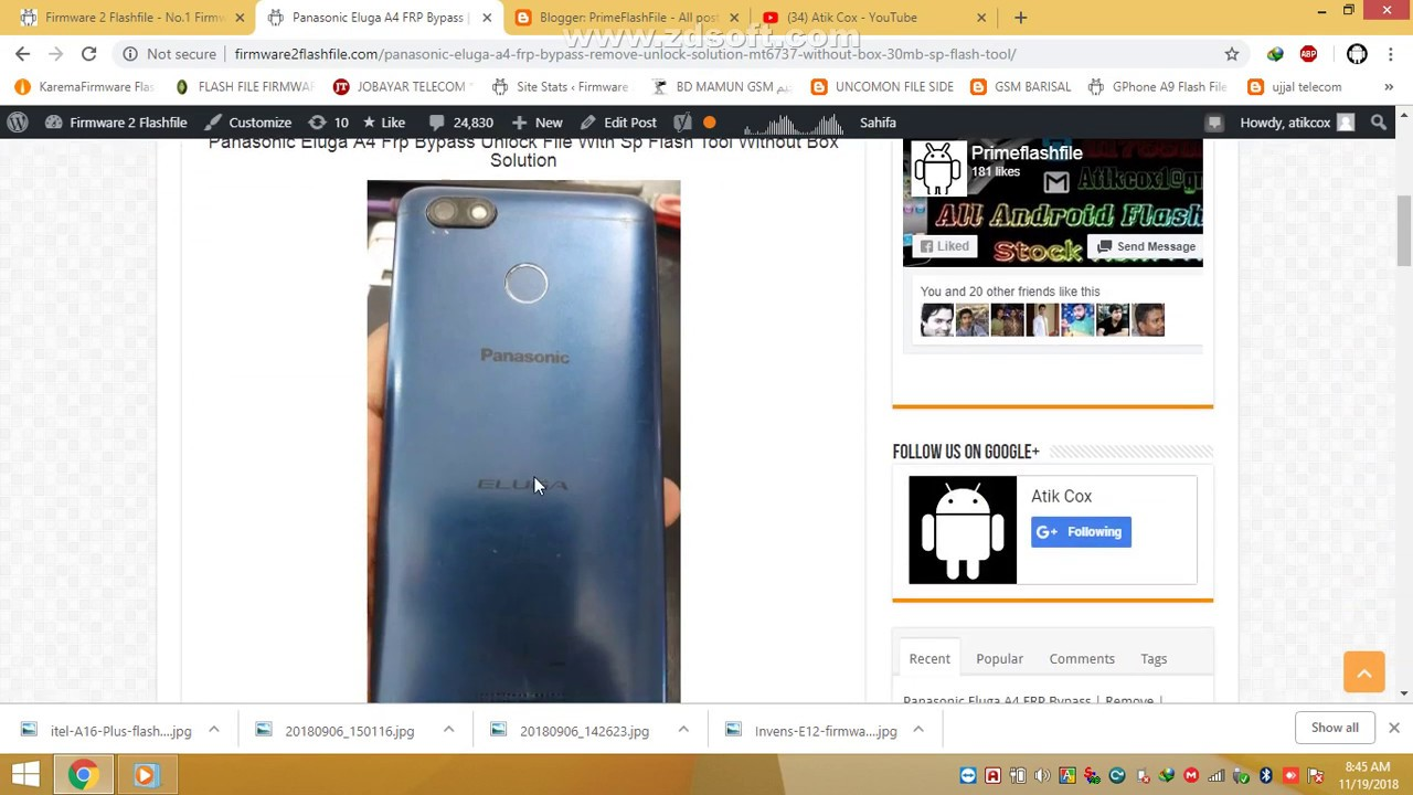 Panasonic Eluga A4 FRP Removed Done MT6737 Only 30MB File 100% Tested