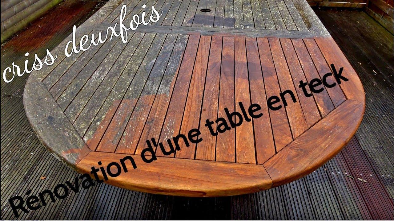 renover une table de jardin en teck sans produit exterieur bretagne france