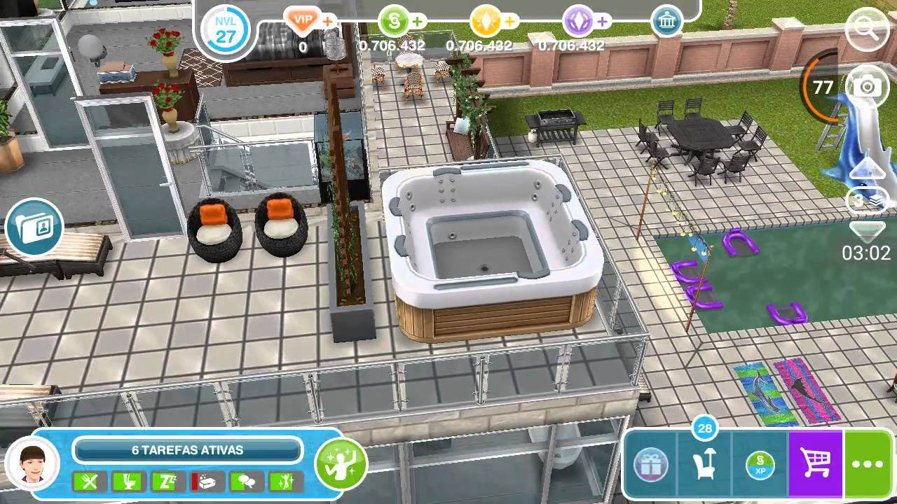 Tour pela casa em the sims free play youtube for Casa de diseno the sims freeplay