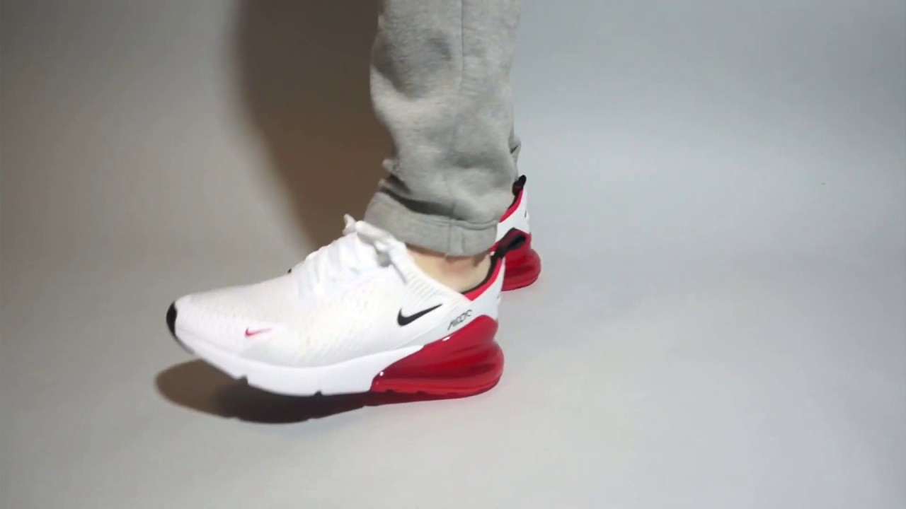 8f44bed0ef49 Nike Air Max 270 White University Red BV2523-100 on feet - YouTube nike air