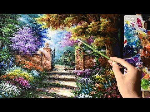 Beautiful Garden Gate  Acrylics Painting