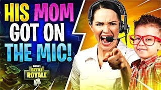 HIS MOM GOT ON THE MIC! (Fortnite Battle Royale)