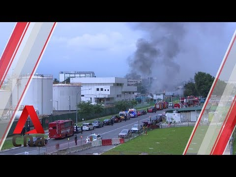 Firefighters tackle huge blaze at Jurong industrial area in Singapore