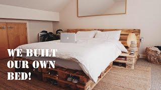 We built our own bed out of recycled pallets!